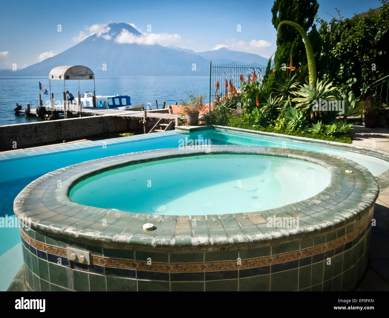Pool And Jacuzzi Pool And Jacuzzi At Lake Atitlan In Guatemala Stock Photo