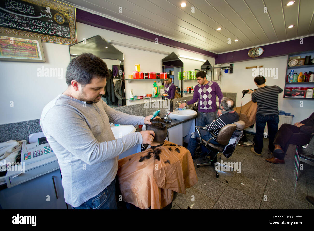 Salon Nuremberg Nuremberg Germany 06th Feb 2015 Men Get Their Hair Cut