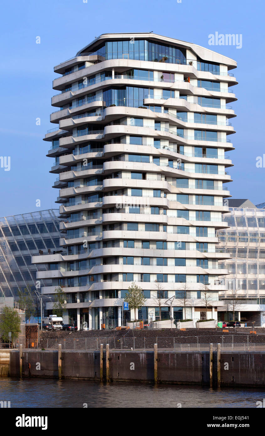 Marco Polo Tower Residential Marco Polo Tower, Behnisch And Partner, Quartier Stock Photo - Alamy