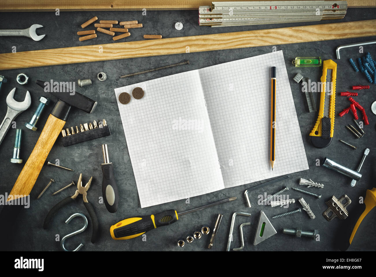 Do Yourself Home Improvement Project Assorted Do It Yourself Diy Tools And Blank Page Notebook As Copy