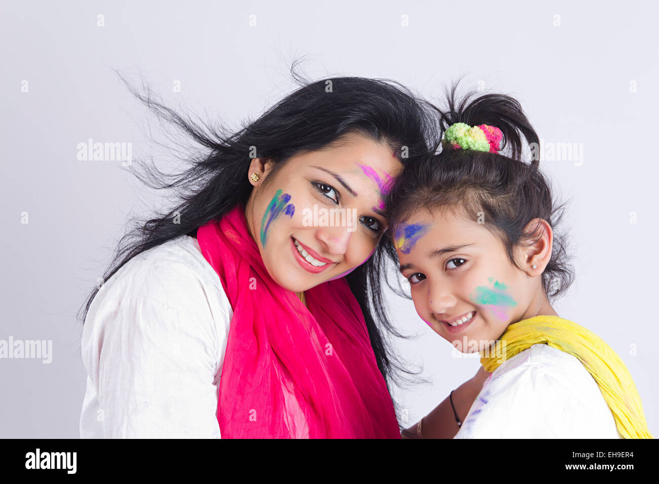 2 Kid 2 Indian Mother And Kid Daughter Holi Festival Enjoy Stock Photo