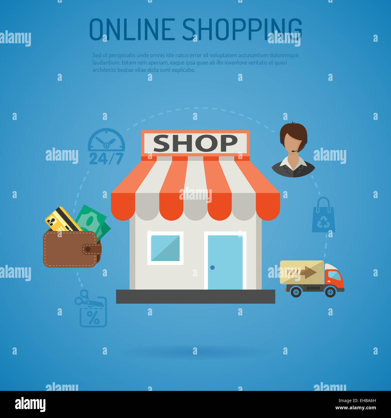Poster Online Kaufen Internet Online Shopping Poster With Flat Icons For E-commerce Stock Photo - Alamy