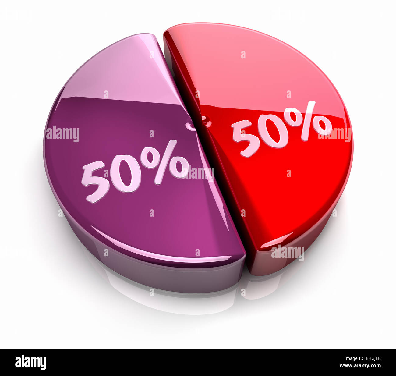 50*50 Pie Chart 50 50 Percent Stock Photo Royalty Free Image