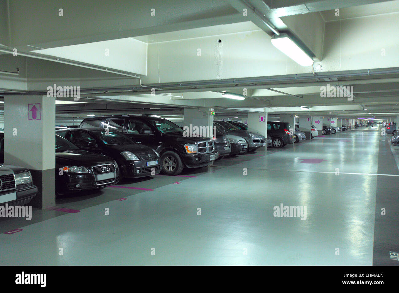 Car Lift To Basement Garage Underground Parking Garage In France Stock Photo 79737917 Alamy