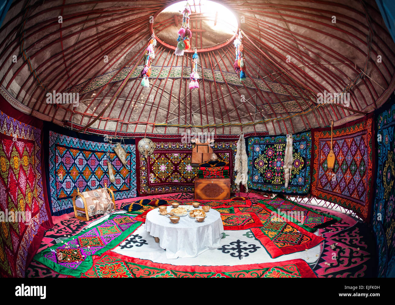 Ethnic Nomadic House Yurt Interior With Table Of National