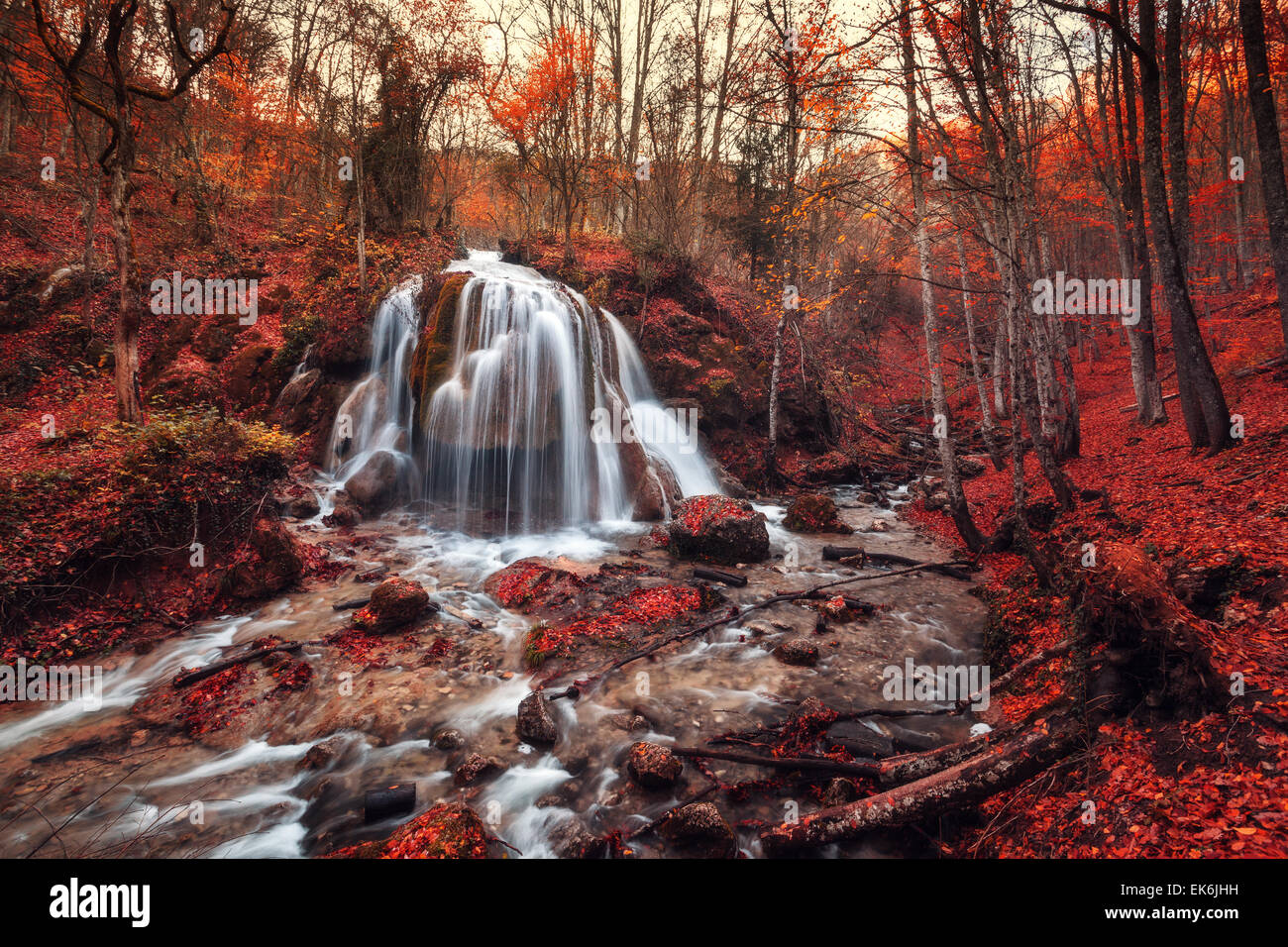 Tree With Leaves Falling Wallpaper Beautiful Waterfall With Trees Red Leaves Rocks And