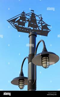 Decorative Street Lamp Post On Blue Stock Photos ...