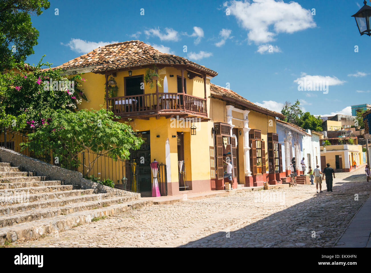 Resturant Stores Cuba Trinidad Plaza Mayor Area Bar Restaurant Shops Stores Stairs
