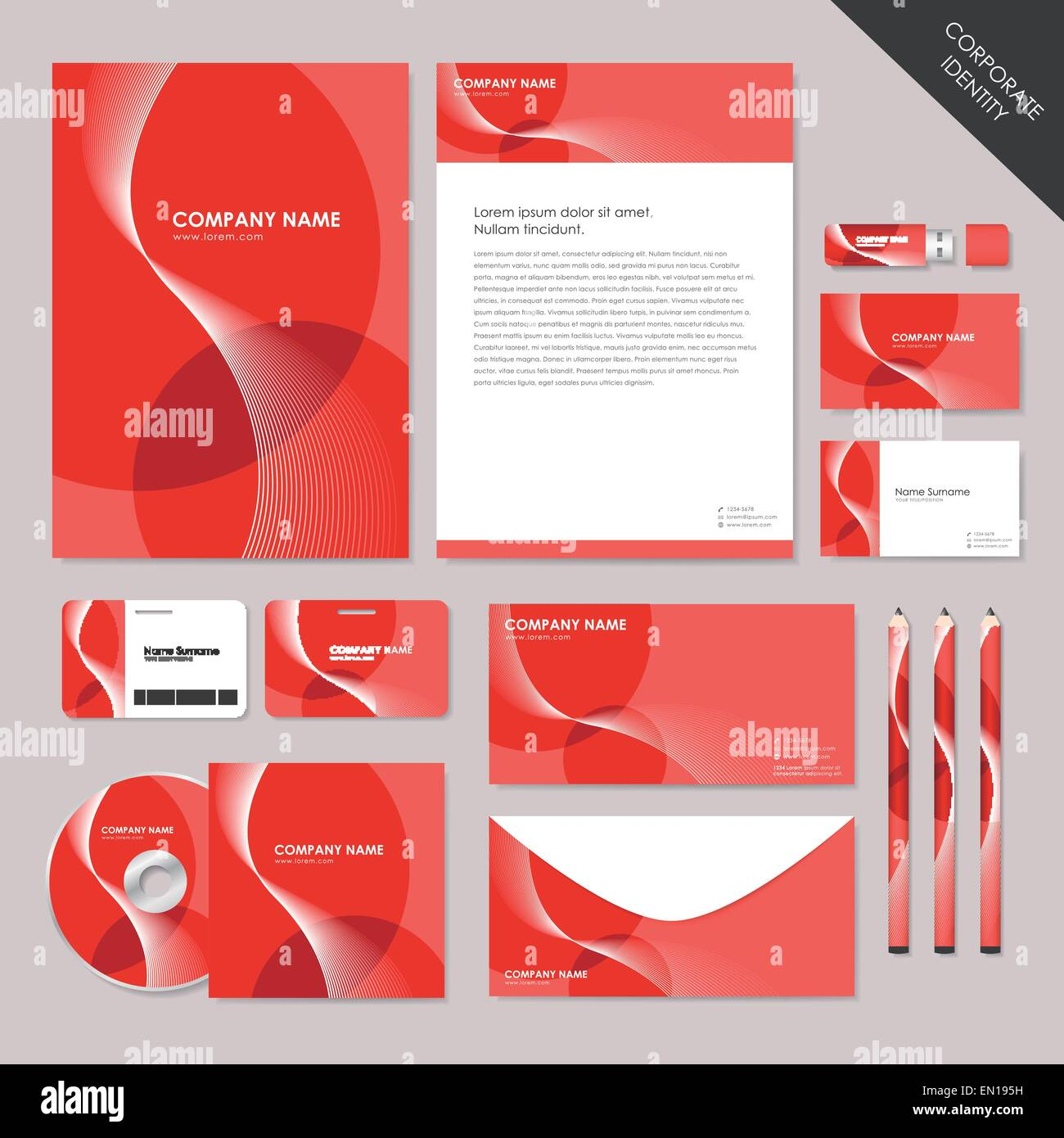 Corporate Graphic Design Vector Abstract Corporate Identity Set Graphic Design Of Red