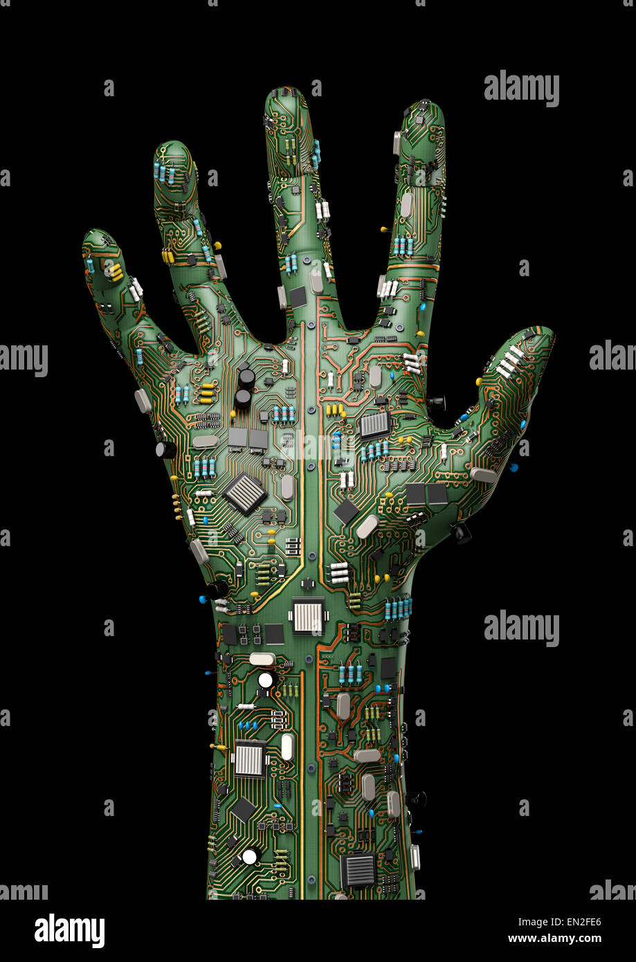 Unity 3d Wallpaper 3d Render Of Raised Hand Made Of Computer Circuit Board