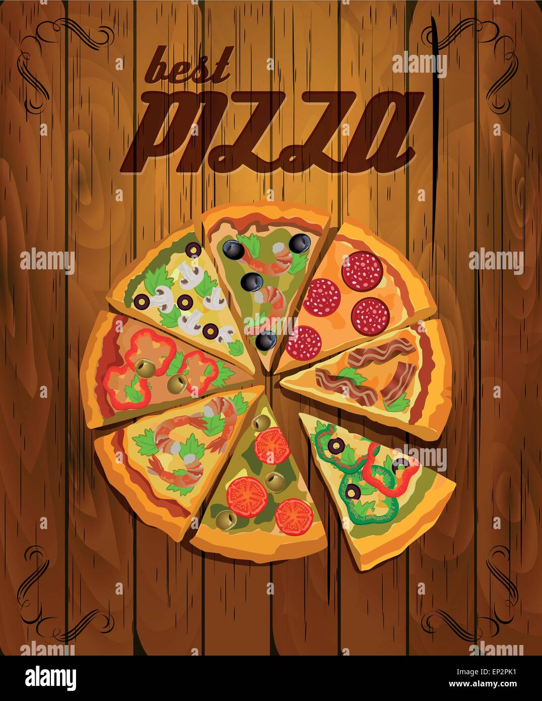 Arte Cafe Pizza Vector Pizza Label Or Poster Design Template Pizza