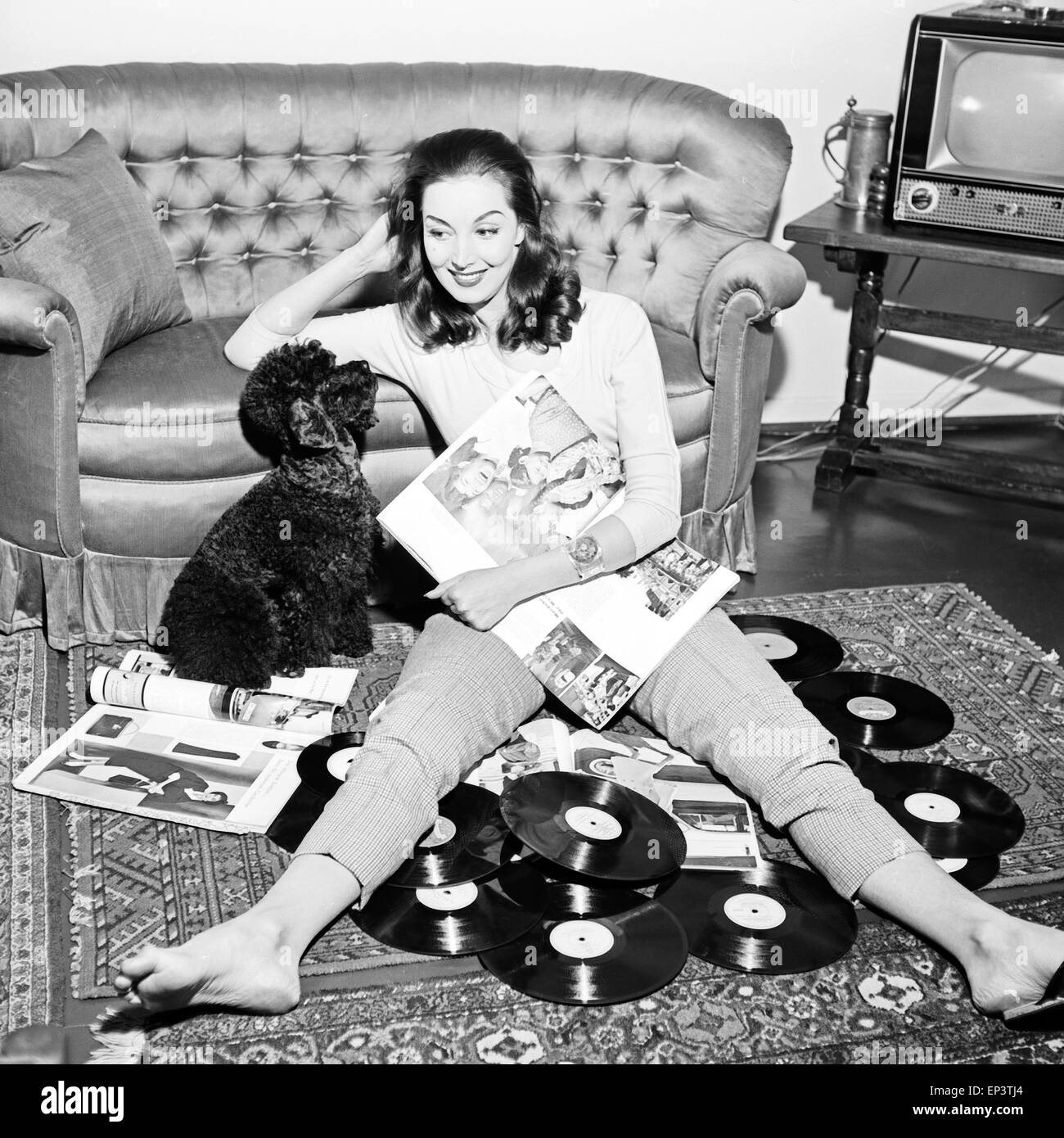 Shooting Wohnzimmer Woman And Dog 1950 39s Stock Photos And Woman And Dog 1950 39s