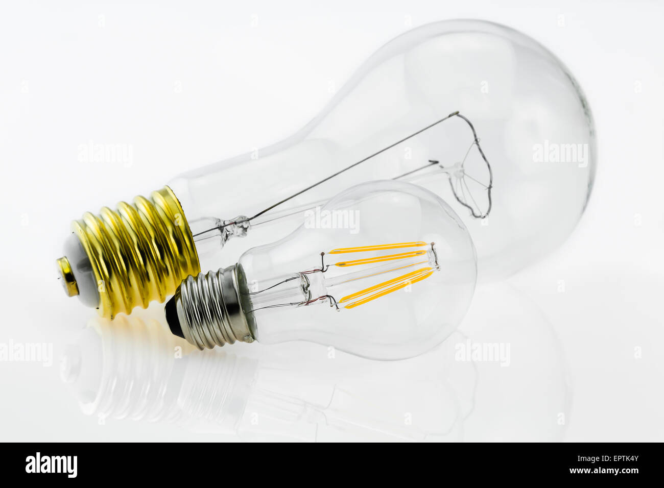 Led Bulb E27 10w Compared With 300w Tungsten E40 Stock Photo Alamy