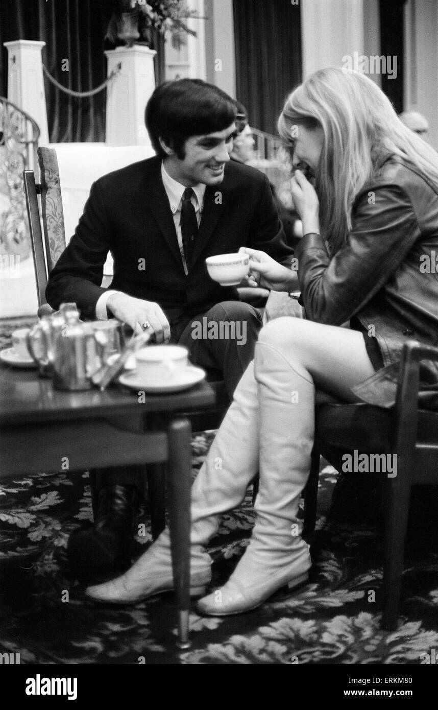 Jackie Glass Manchester United And Northern Ireland Footballer George Best With