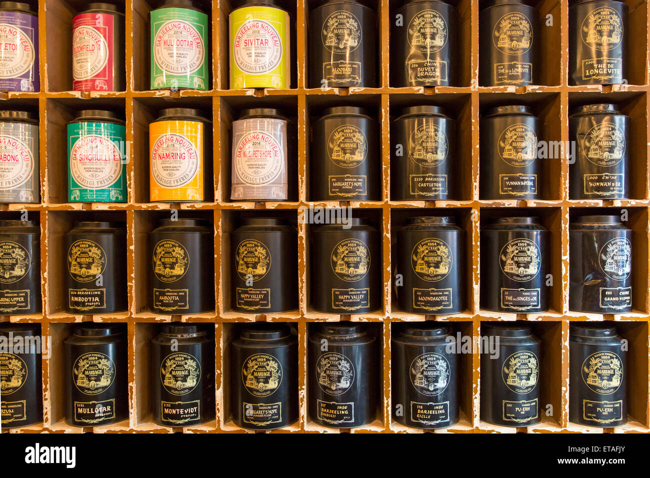 Salon De The Mariage Freres Paris Canisters Of Tea Wall Display At World Famous Mariage