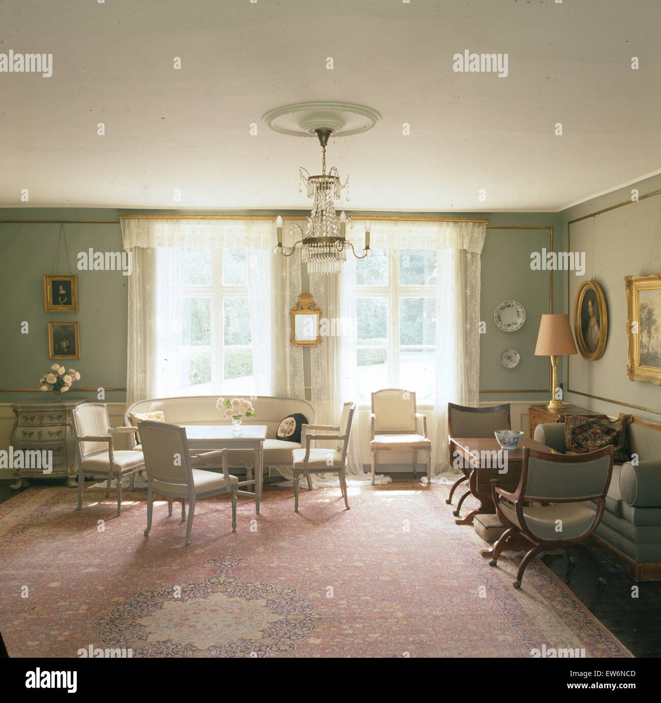 Swedish Living Room Vintage Carpet In Elegant Swedish Dining And Living Room Stock