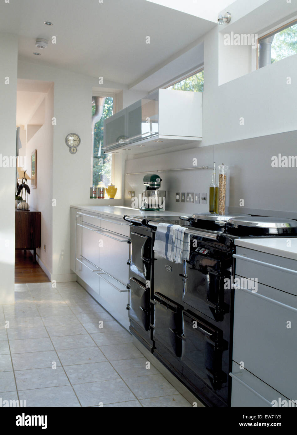 Kitchen Design Chrome Extension Black Aga Oven In Modern White Kitchen Extension With Chrome Mixer