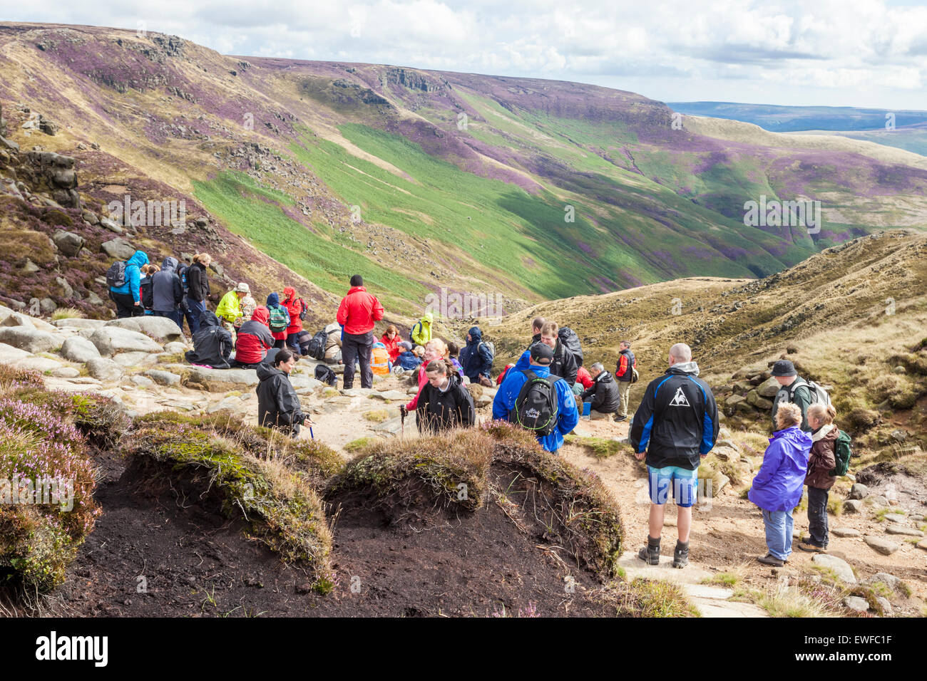 Outdoor Kinder Walking Group Resting At The Top Of Grindsbrook Clough Kinder