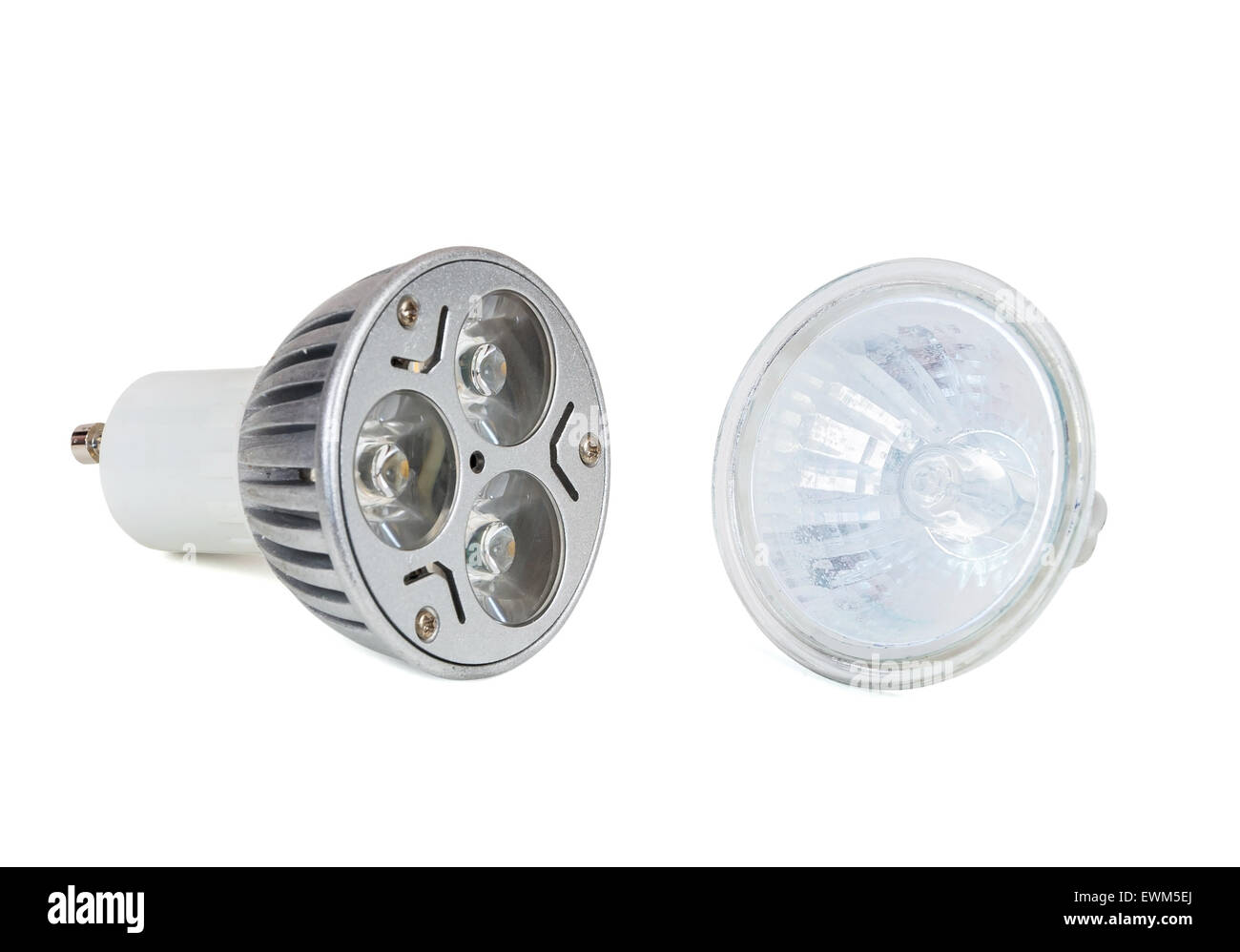 Halogenlampe Led Led Light Bulb And Halogen Lamp Isolated On White Background With