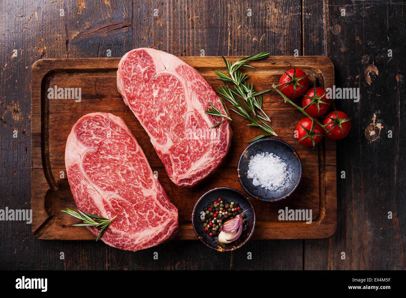 Beef Stock Kaufen Two Raw Fresh Marbled Meat Black Angus Steak Ribeye And Seasonings