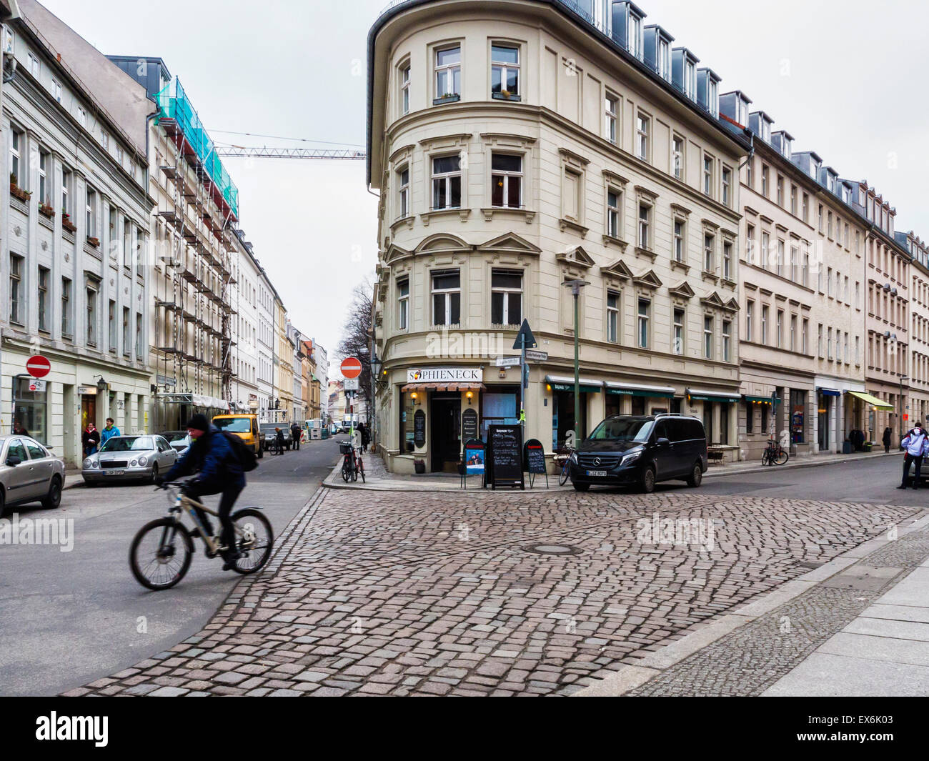 Berlin Sophieneck Bar And Restaurant Exterior And Berlin Street View With Apartment Buildings Stock Photo Alamy