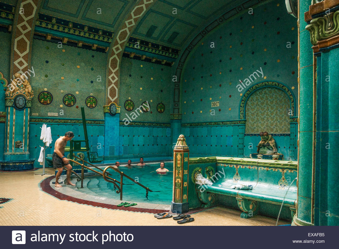 Baños Gellert Budapest Men Soak In The Mineral Waters At The Indoor Gellert
