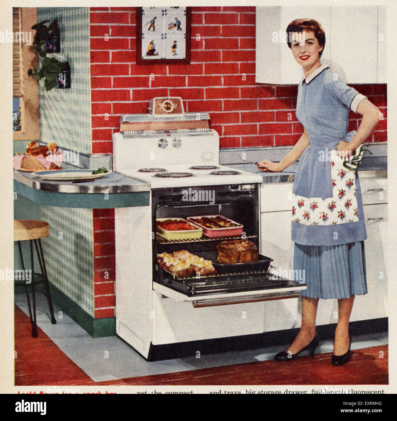 Vintage Schürze Küche 1950s Usa Housewife Cooking Magazine Advert Detail Stock