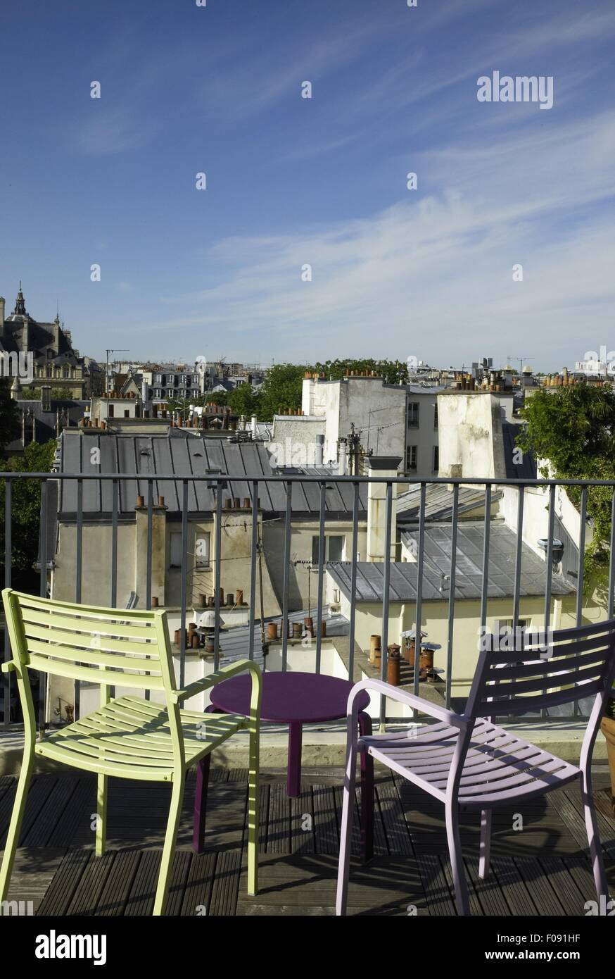 Terrasse Hotel Paris Chairs On Terrace Of Hotel Terrasse Saint In Paris France Stock