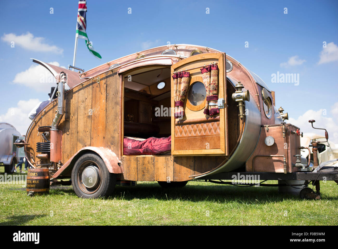 Steampunk teardrop trailer at a vintage retro festival newbury england