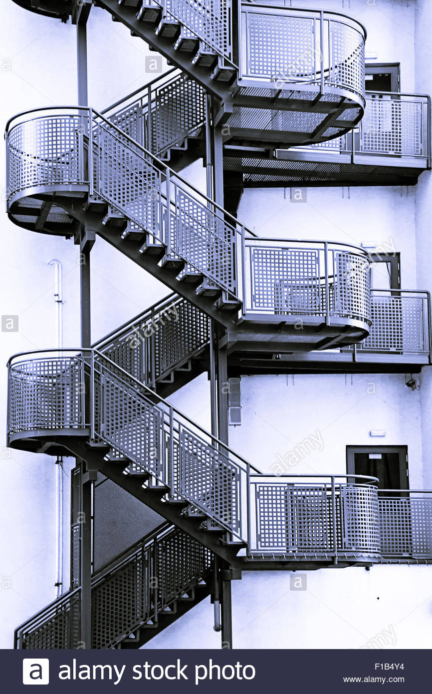 Outside Stairs Modern Metal Staircase Outside A Building Stock Photo 86911864