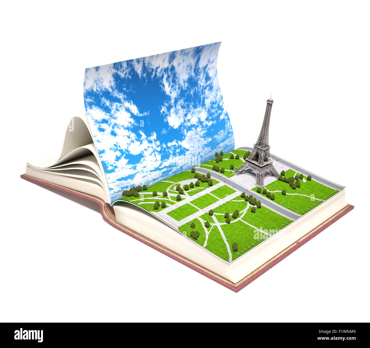 3d Open Paris In The Open Book 3d Concept Stock Photo 87232329 Alamy