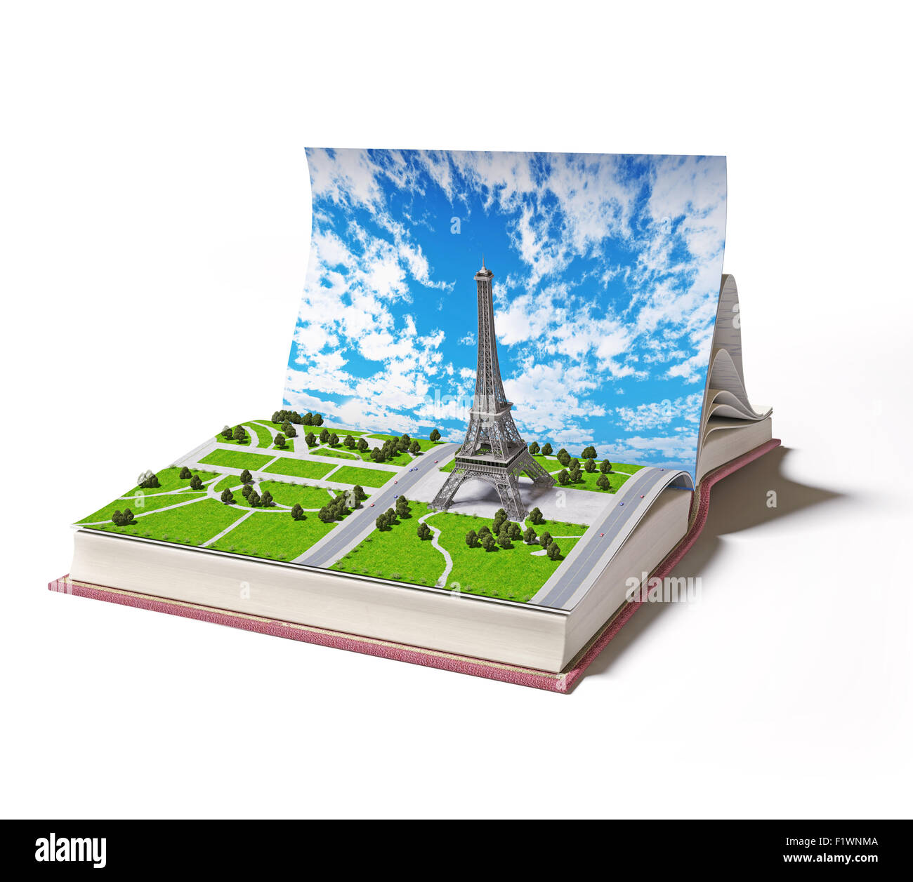 3d Open Paris In The Open Book 3d Concept Stock Photo 87232330 Alamy
