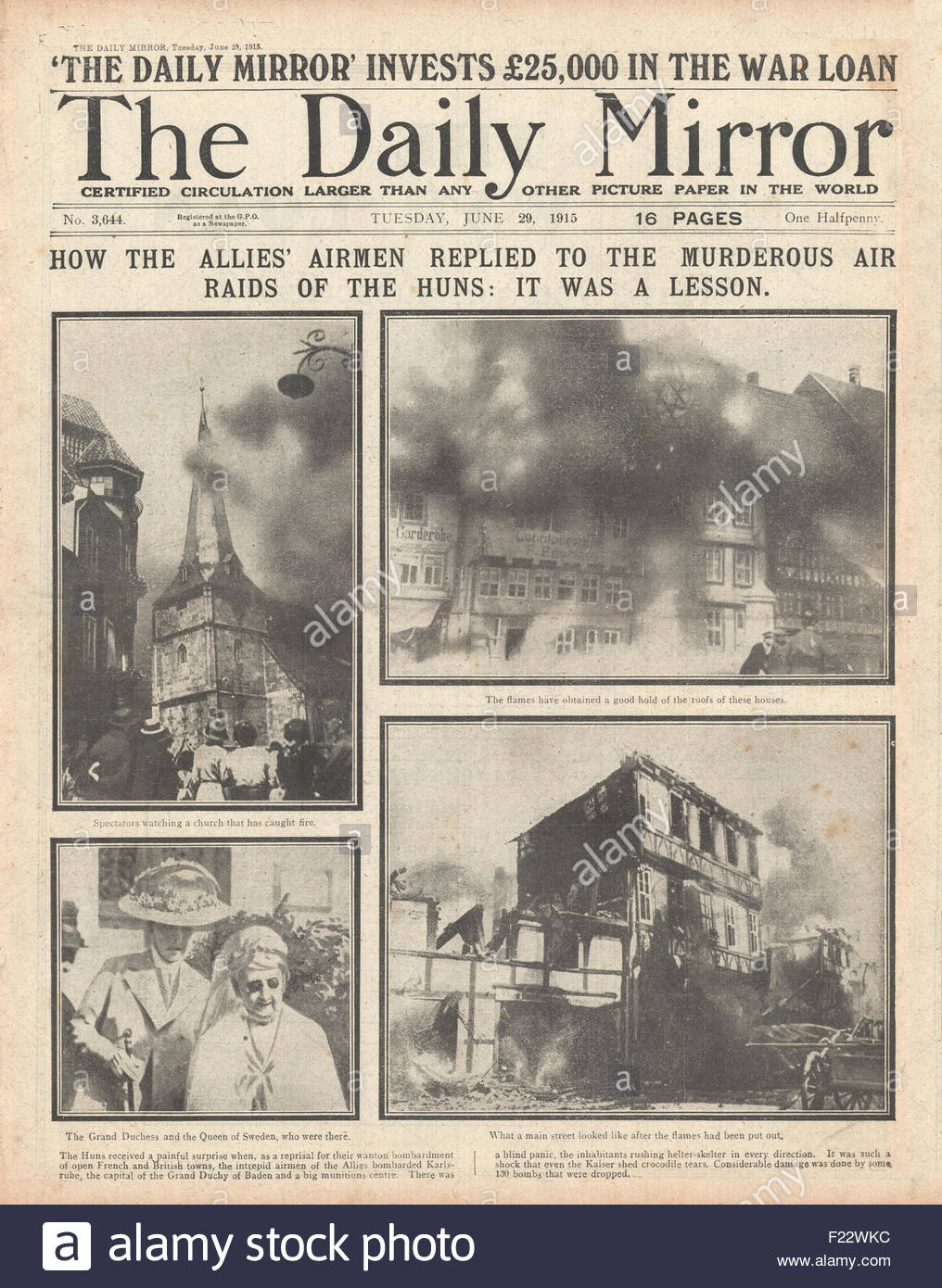 Garderobe Home Affair 1915 Front Page Daily Mirror Stock Photos 1915 Front Page Daily