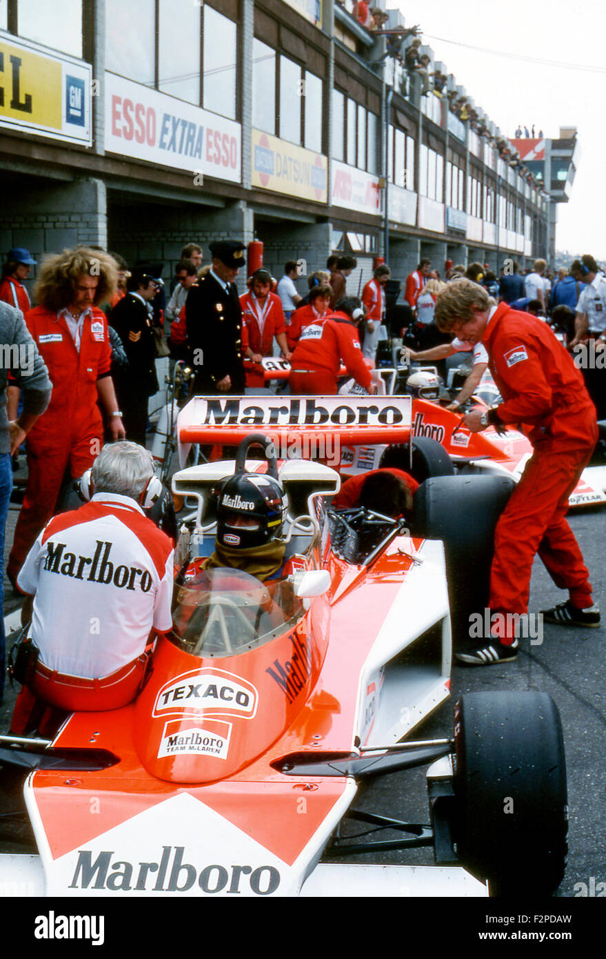 Circuit Monza James Hunt In A Mclaren M23 In The Pits, Italian Gp At