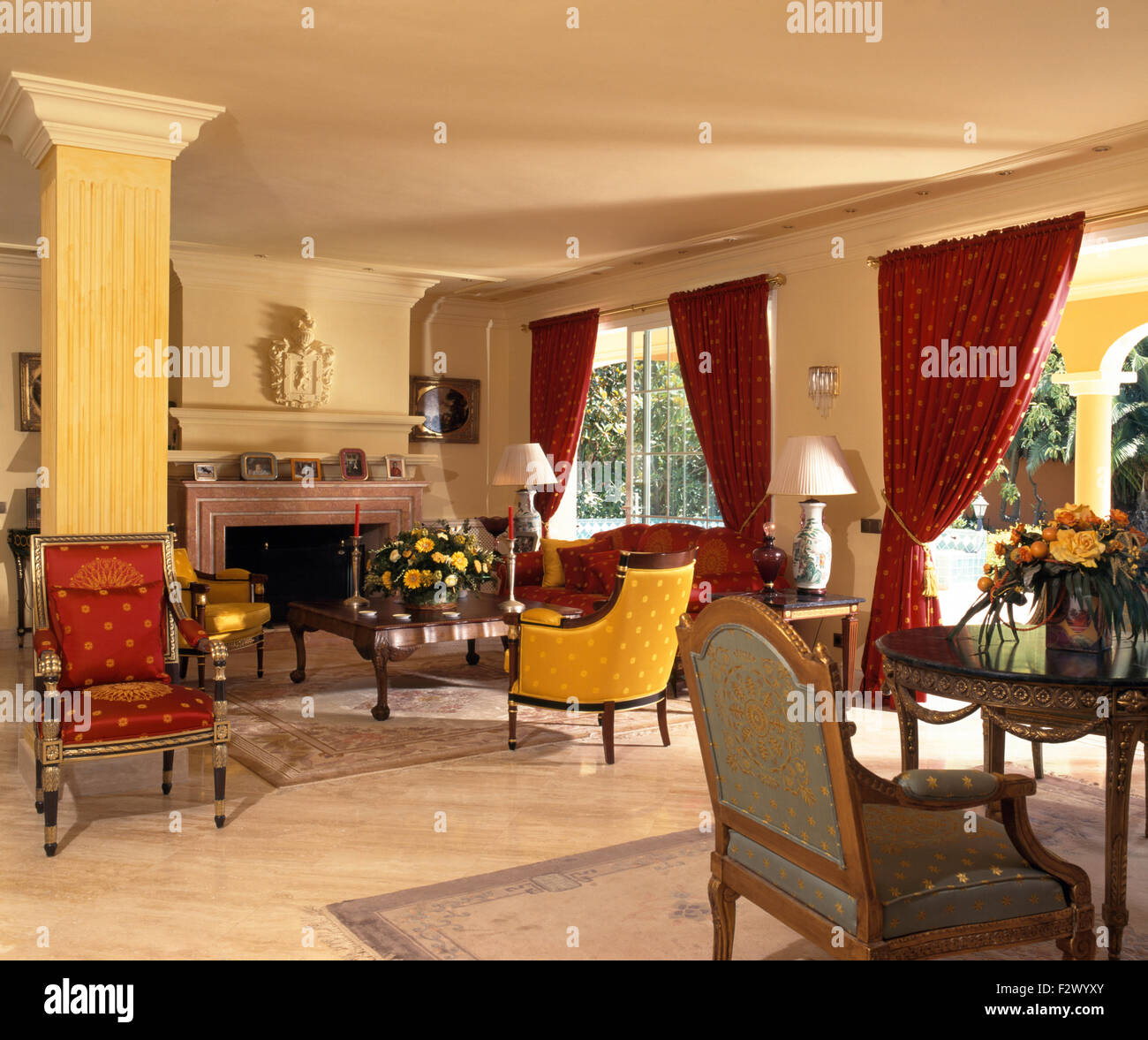 What Is Sofa In Spanish Red Curtains And Colourful Chairs And Sofa In Spanish Living Room