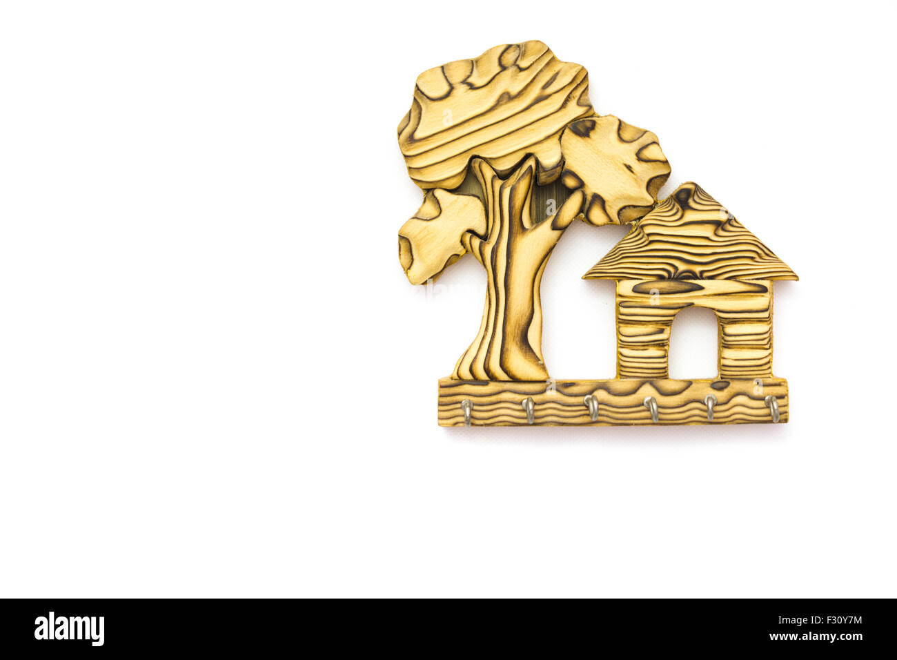 Home Key Holder For Wall Wooden Wall Hanging Key Holder Home Shaped Stock Photo 87917192