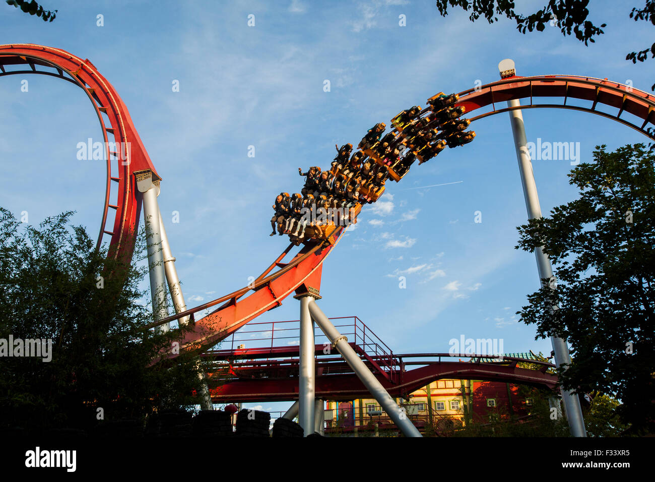Tivoli Without Rides The Demon Rollercoaster Ride Tivoli Gardens Copenhagen Stock