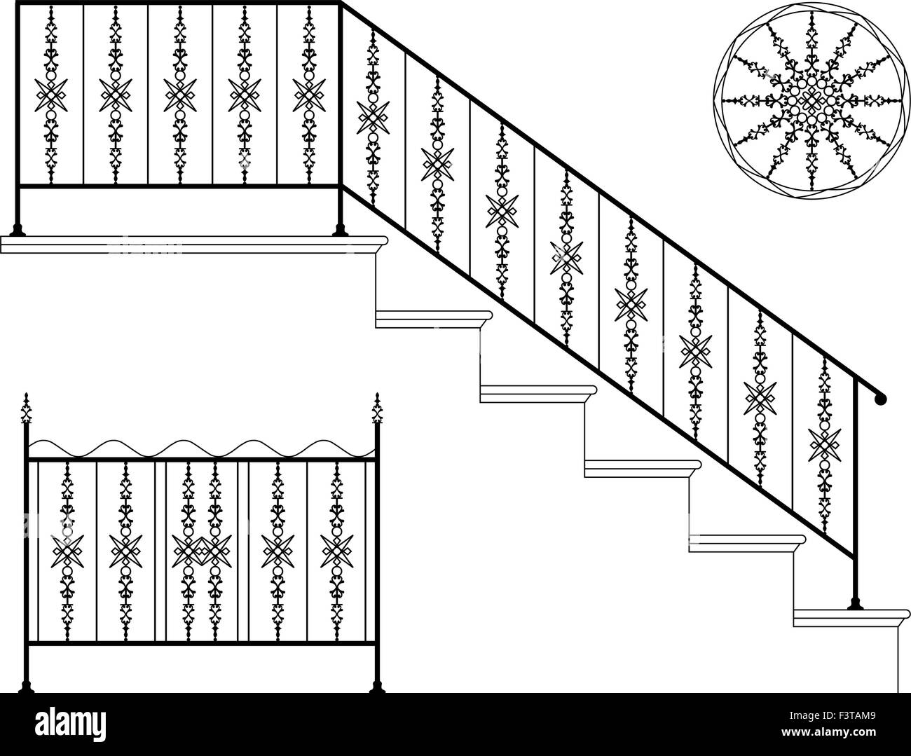 Wrought Iron Staircase Designs Wrought Iron Stair Railing Design Vector Art Stock Vector