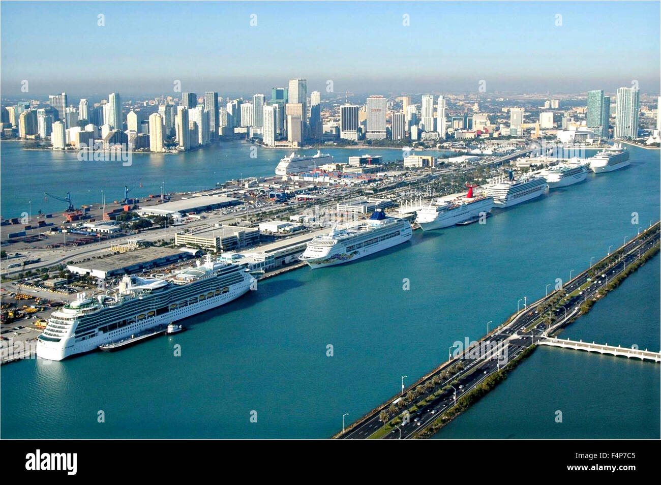 Miami Port Aerial View Of The Port Of Miami Cruise Ship Terminal And Cargo In