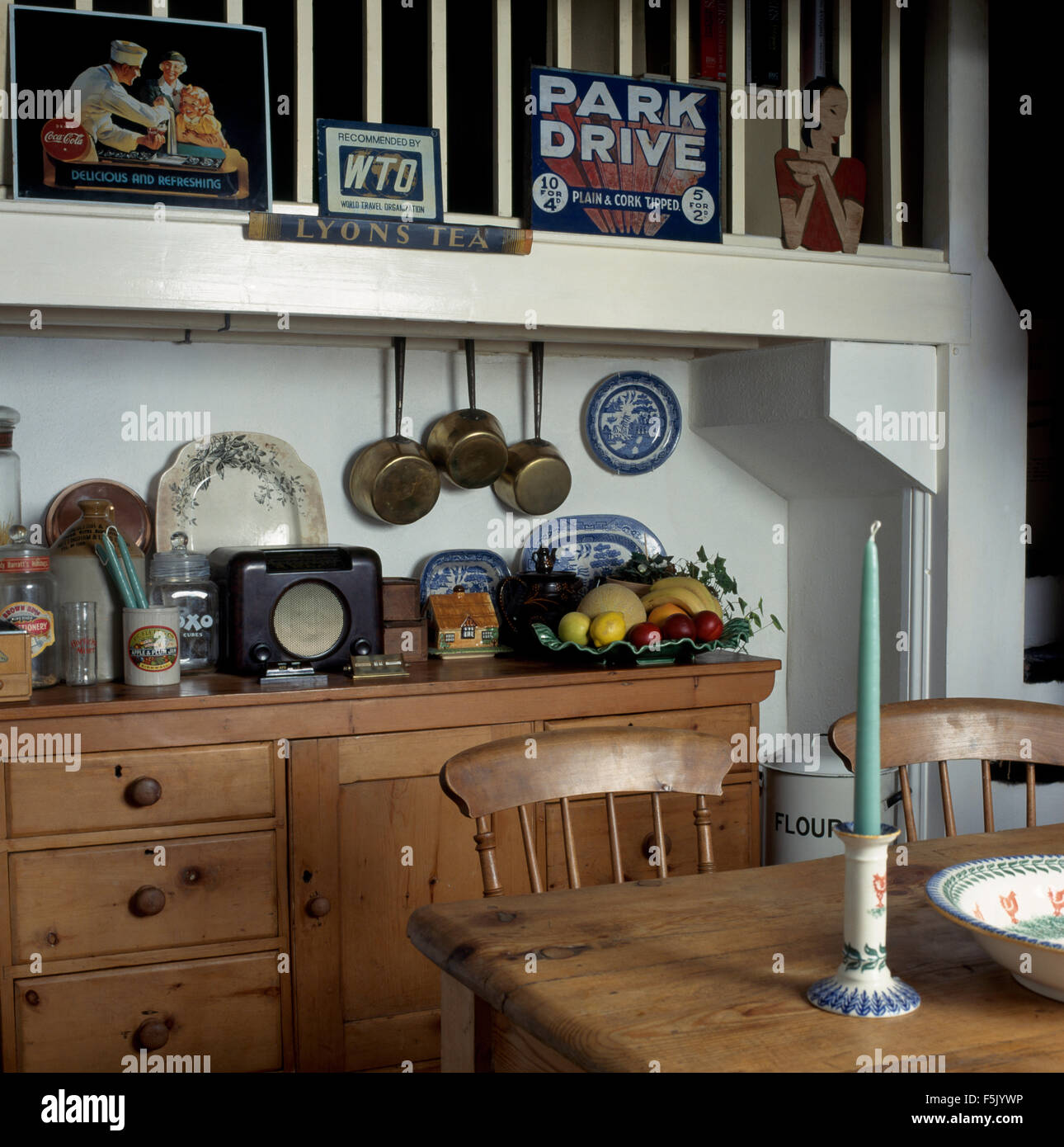 Countertop Signs Vintage Signs And Forties Radio In A Nineties Dining Room With An