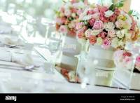 Beautiful wedding decoration with roses and a luxurious