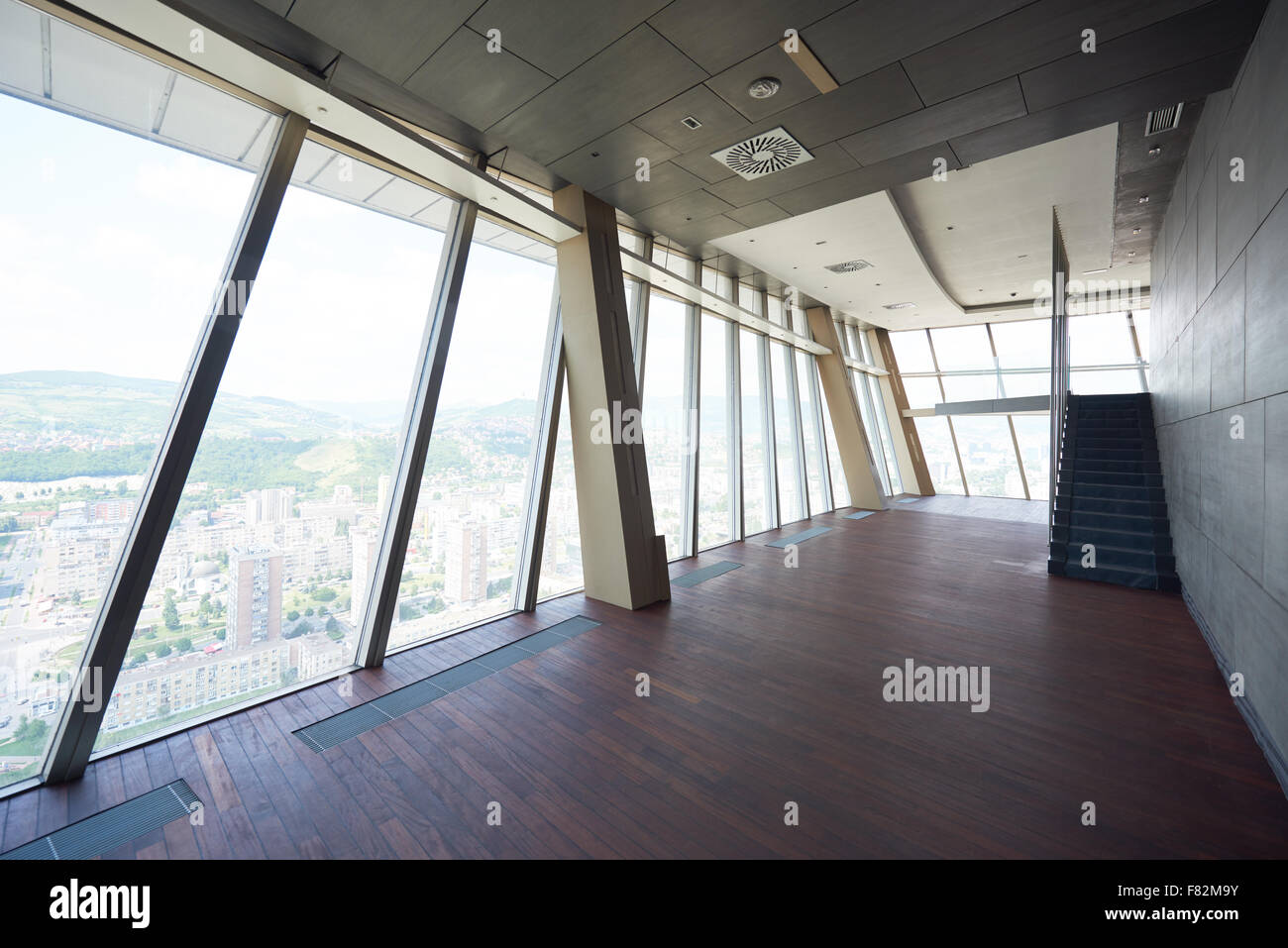 Empty living room with large windows can be as background stock - Empty Living Room With Large Windows Can Be As Background Stock Stock Photo Modern Bright Download