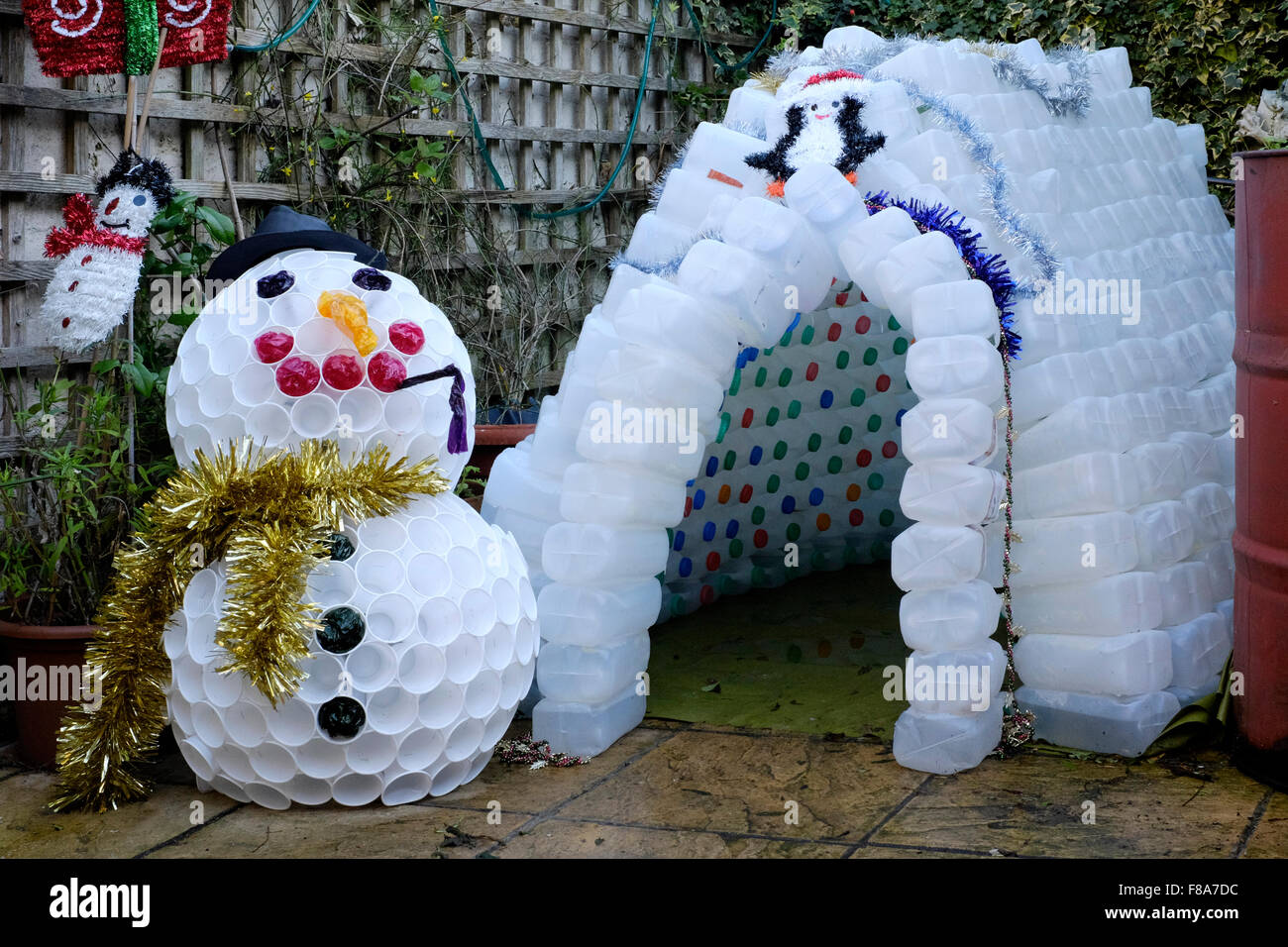 Christmas garden igloo and snowman decoration made from