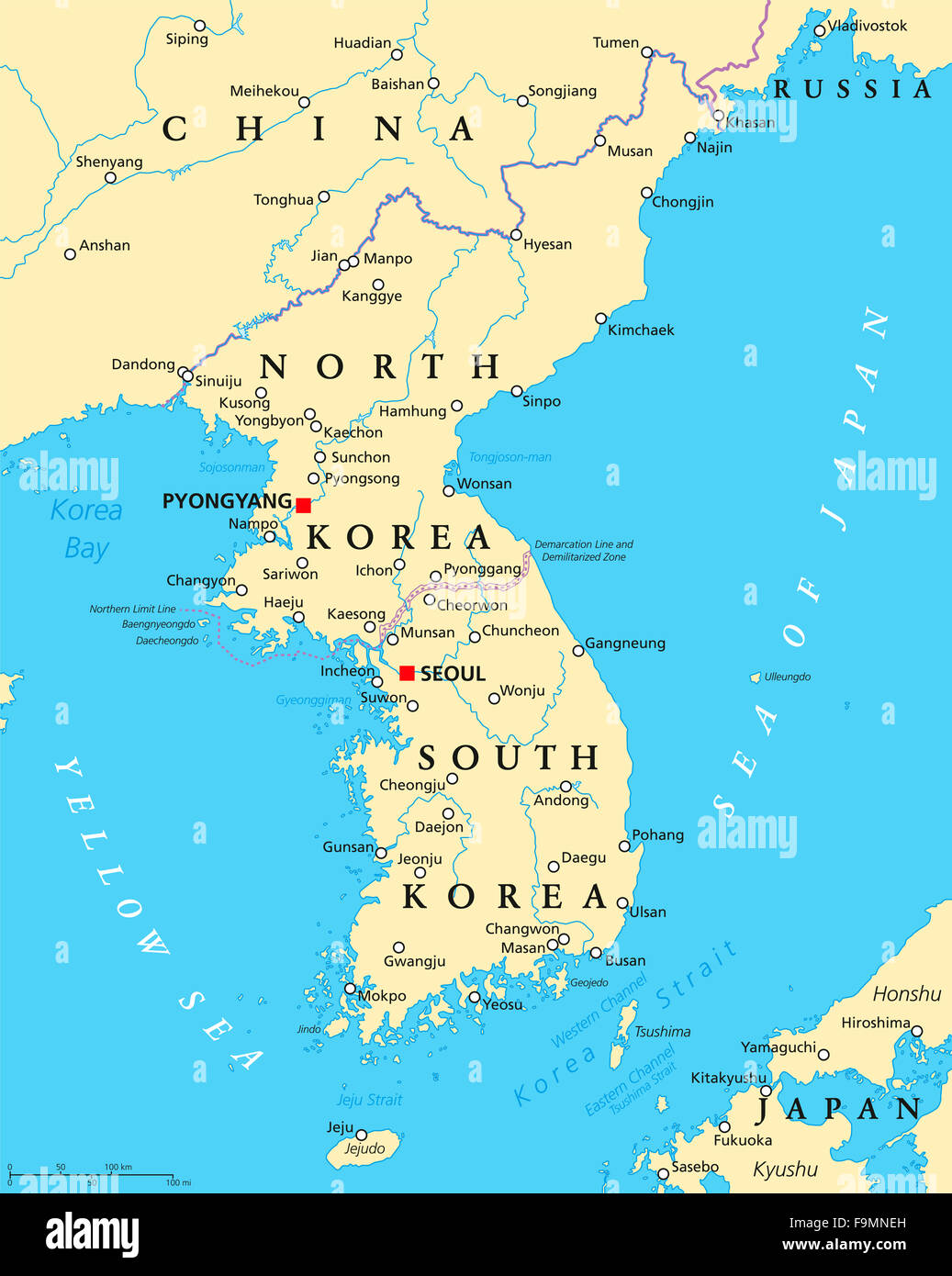 About South Korea Korean Peninsula Political Map With North And South Korea And The