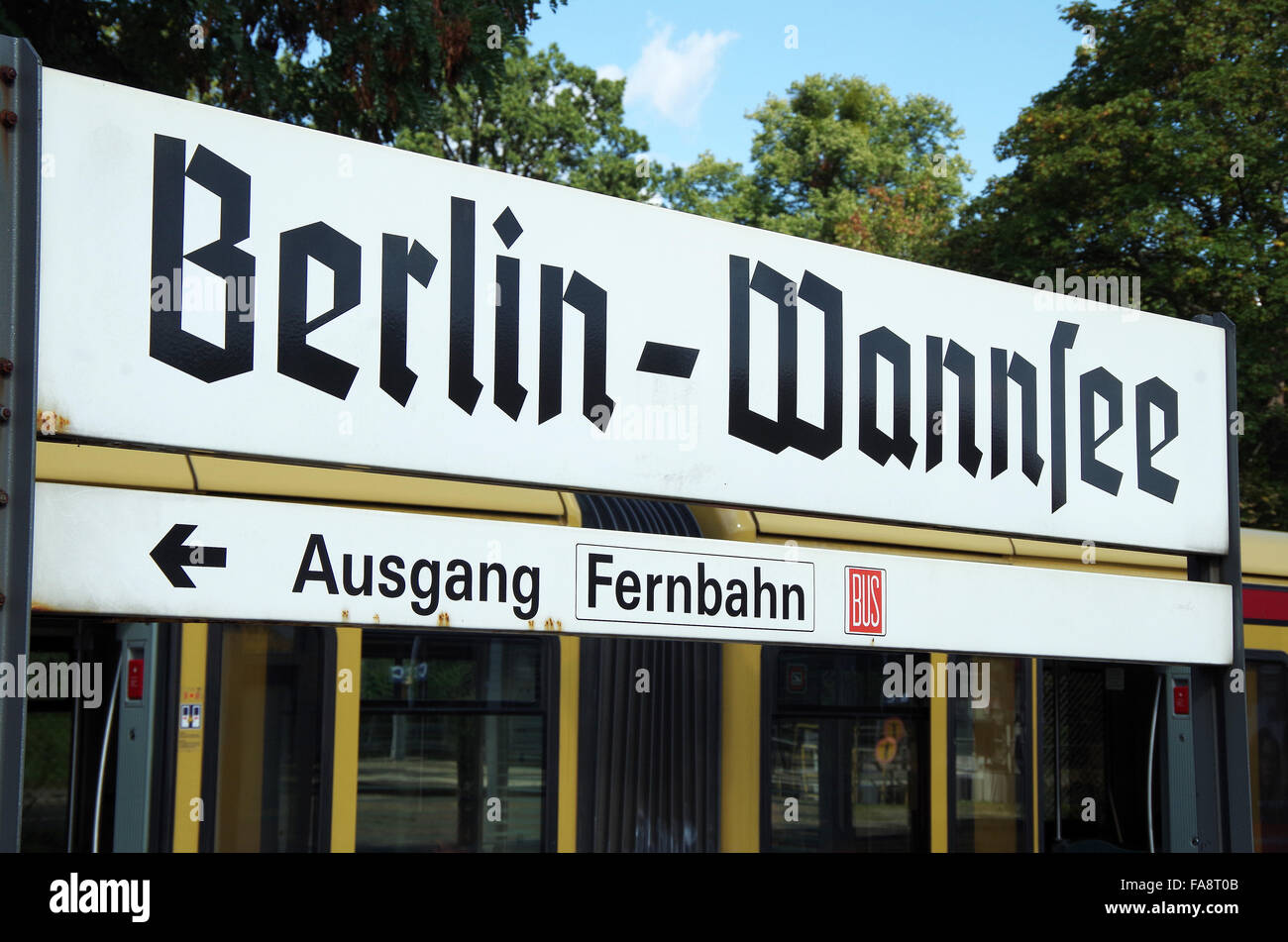 Berlin Gothic Berlin Wannsee Railway Station Sign Gothic Script Stock Photo