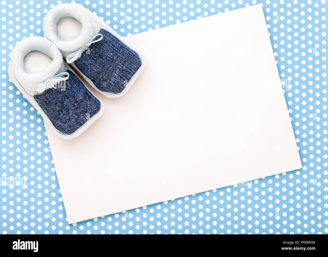 Baby Girl Nursery Wallpaper Borders Announcement Card With Blue Baby Boy Shoes On Blue Polka