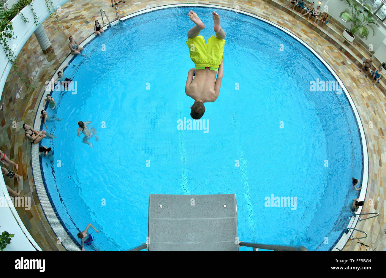 Bad Lausick Schwimmbad Bad Lausick Germany 09th Feb 2016 A Boy Jumps From A 3 Meter