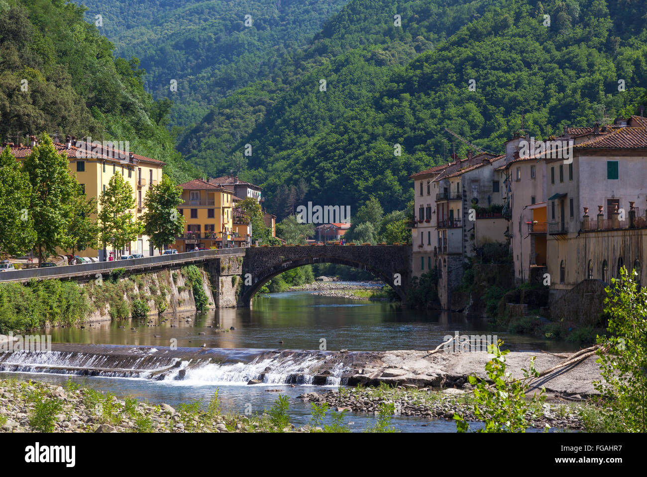 Terme Di Bagni Di Lucca River Through Bagni Di Lucca Italy Stock Photo 96119835