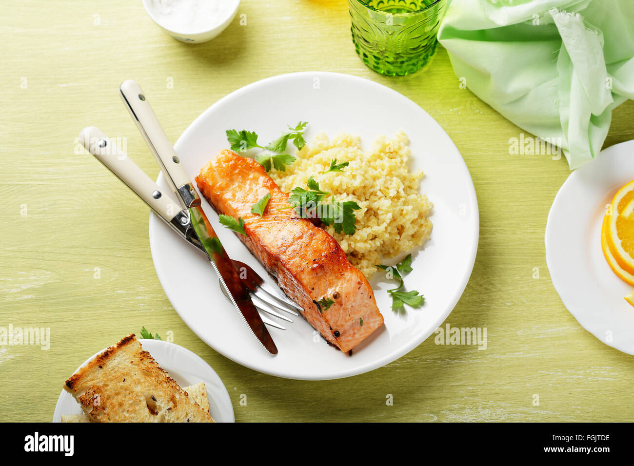 Plate With Food Top View Roasted Steak Salmon On Plate Food Top View Stock Photo