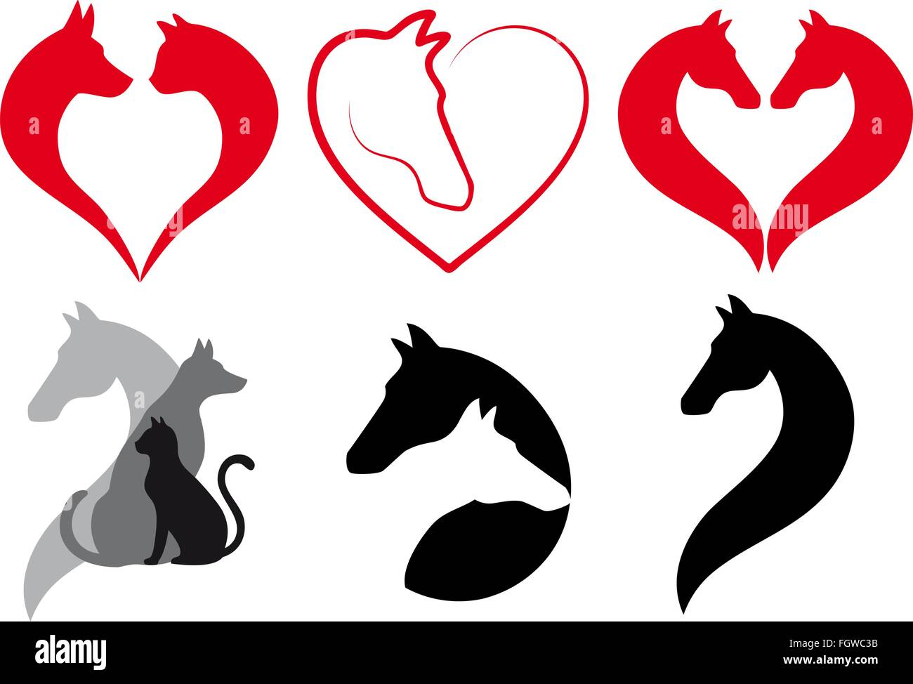 Animal Design Cat Dog Horse Heart Icons Animal Love Logo Designs Vector Set